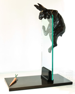"""Dangling Carrot,"" by Nicola Prinsen 24 1/2"" (L) x 31"" (H) x 14"" (W) - bronze and glass $9900"