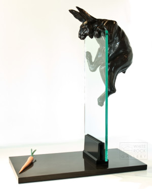 "SOLD ""Dangling Carrots,"" by Nicola Prinsen 24 1/2"" (L) x 31"" (H) x 14"" (W) - bronze and glass $9900"