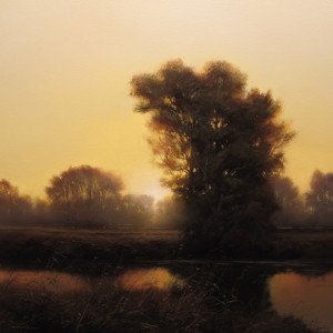 "SOLD ""Early Autumn - Dusk,"" by Renato Muccillo 18 x 18 - oil on canvas $3370 in show frame"