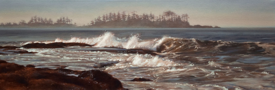 "SOLD ""Ebb and Flow,"" by Ray Ward 10 x 30 - oil $1350 Unframed $1650 Custom framed"