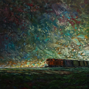 "SOLD ""Engine at Dawn,"" by Steve Coffey 20 x 20 – oil $1600 Unframed"