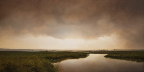 "SOLD ""Evening Marsh,"" by Renato Muccillo 24 x 48 - oil on canvas $6900 in show frame"