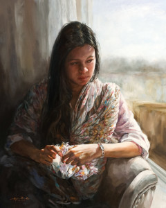 "SOLD ""Expectations,"" by Donna Zhang 24 x 30 - oil $5625 in show frame $5200 Unframed"