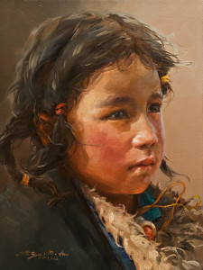 "SOLD ""Inquisitive,"" by Donna Zhang 12 x 16 – oil $1620 Unframed"