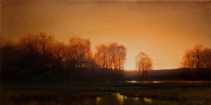 "SOLD ""Late Evening Silhouette,"" by Renato Muccillo 6 x 12 - oil $1485 in show frame"
