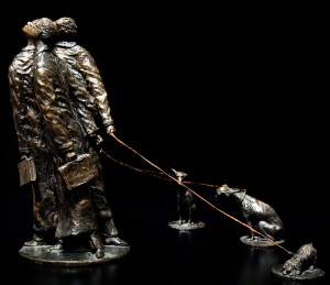 """The Lawyers (Joyco, Joyco and Boyce Share a Vision; Rolland, Gandalf and Peaches Do Not),"" by Michael Hermesh 18 x 9 x 9 - bronze No 1 of edition of 12 $11,500"