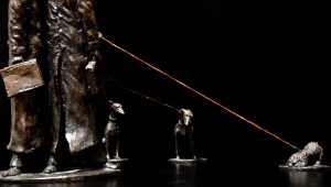 """""""The Lawyers (Joyco, Joyco and Boyce Share a Vision; Rolland, Gandalf and Peaches Do Not),"""" by Michael Hermesh 18 x 9 x 9 - bronze No 1 of edition of 12 $11,500"""