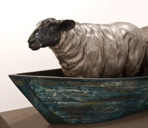"""Missing Sheep,"" by Nicola Prinsen 49"" (L) x 15"" (H) x 13 1/2"" (W) - bronze $18,000 Edition of 2"