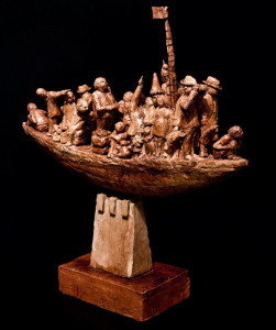 "SOLD ""The Navigator's Dream,"" by Michael Hermesh 25 x 24 x 6 - ceramic $4000"