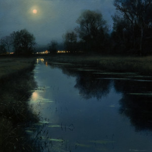 "SOLD ""Neaves Road Canal Nocturne,"" by Renato Muccillo 8 x 8 - oil $1500 in show frame"
