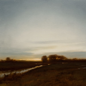 "SOLD ""North Canal at Dusk (Study),"" by Renato Muccillo 5 x 5 - oil on mounted panel $1130 in show frame"