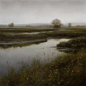 "SOLD ""October - Grant Narrows,"" by Renato Muccillo 11 x 11 - oil on mounted panel $2160 in show frame"