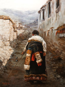 "SOLD ""Passing Through,"" by Donna Zhang 18 x 24 - oil $3800 in show frame $3460 Unframed"