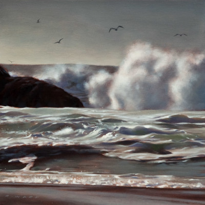 "SOLD ""Sea Spray and Gulls,"" by Ray Ward 10 x 10 - oil $700 Unframed $900 Custom framed"