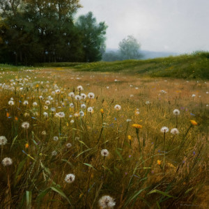 "SOLD ""Seeding Field,"" by Renato Muccillo 11 x 11 - oil on mounted panel $2140 in show frame"