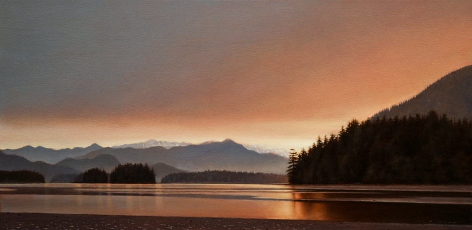 "SOLD ""Serenity of the Sound,"" by Ray Ward 12 x 24 - oil $1300 Unframed $1560 Custom framed"