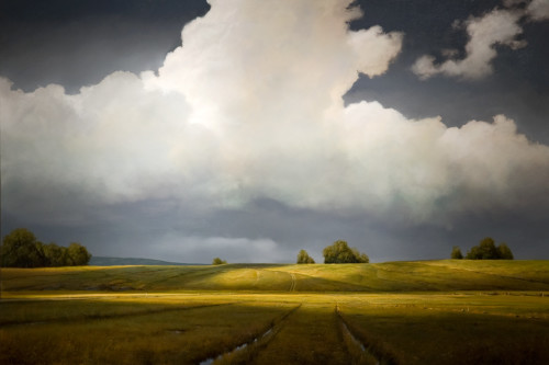 "SOLD ""Shadowlands II,"" by Renato Muccillo 48 x 72 - oil on thick canvas wrap $15,700 in show frame"