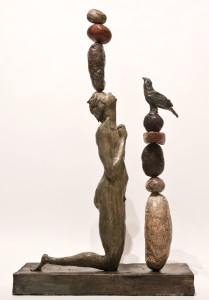 """SOLD """"she was an animist,"""" by Michael Hermesh 14"""" x 13 3/4"""" x 5 1/4"""" - ceramic $3000"""