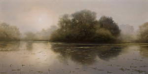 "SOLD ""Silent Inlet,"" by Renato Muccillo 12 x 24 - oil $2920 in show frame"