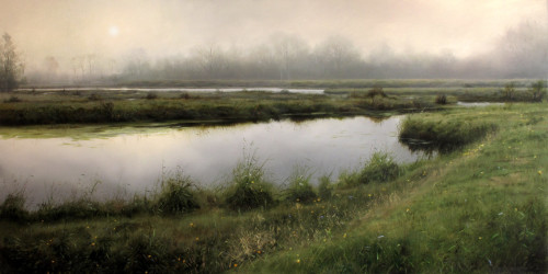 "SOLD ""Silver Veil,"" by Renato Muccillo 24 x 48 - oil on canvas $7600 in show frame"