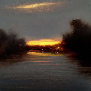 "SOLD ""Southern Core at Dusk,"" by Renato Muccillo 5 x 5 - oil on mylar $1150 in show frame"