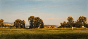 "SOLD ""Summer Field at Dusk,"" by Renato Muccillo 5 x 11 - oil on mounted panel $1450 in show frame"