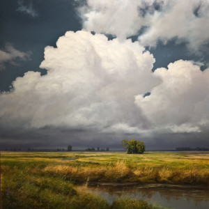 "SOLD ""Valley Thunderhead,"" by Renato Muccillo 48 x 48 - oil $14,050 in show frame"