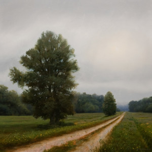 "SOLD ""Westward Dyke - Ford Road,"" by Renato Muccillo 12 x 12 - oil on mounted panel $2350 in show frame"