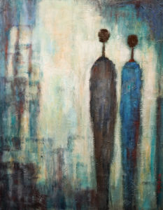 "SOLD ""As the City Sleeps,"" by Bev Binfet 22 x 28 – mixed media $990 Unframed"