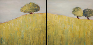 "SOLD ""At the Top – Two Trees,"" by Bev Binfet  diptych – 12 x 24 overall size – acrylic $840 Unframed"