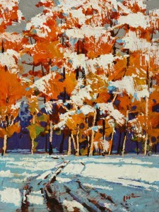 """Autumn Meets Winter,"" by Min Ma 6 x 8 - acrylic $650 Unframed"