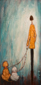 "SOLD ""Best Part of Our Day,"" by Bev Binfet 10 x 20 – mixed media $610 Unframed"
