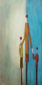 "SOLD ""Can We Mom?"" by Bev Binfet 12 x 24 – acrylic $685 Unframed"