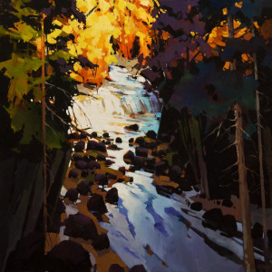 "SOLD ""Capilano Canyon River in Evening,"" by Michael O'Toole 30 x 30 – acrylic $3640 (thick canvas wrap)"