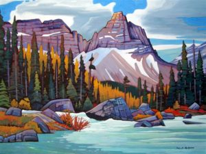 "SOLD ""Cathedral Mountain (Yoho National Park),"" by Nicholas Bott 36 x 48 – oil $6600 Framed"