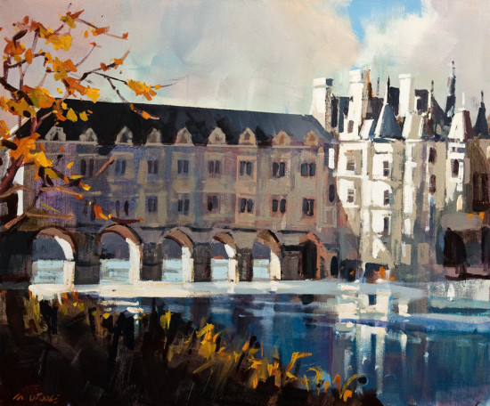 "SOLD ""Château de Chenonceau,"" by Michael O'Toole 20 x 24 - acrylic $1850 Unframed $2200 Custom framed"