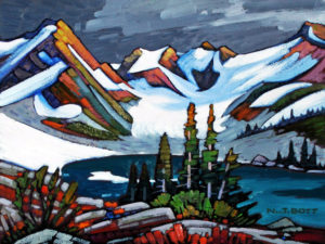 "SOLD ""Coast Mountain Glacial,"" by Nicholas Bott 12 x 16 – oil $1565 Framed"
