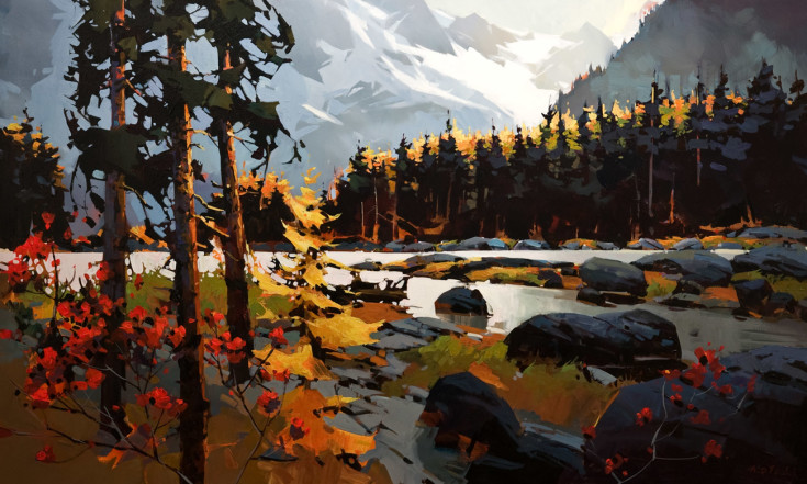 "SOLD ""Columbia Icefield Parkway in Autumn Colours,"" by Michael O'Toole 36 x 60 - acrylic $7600 Unframed $8450 Custom framed"