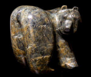 """SOLD """"Curious For Sure,"""" by Marilyn Armitage Brazilian soapstone 8"""" (L) x 8"""" (H) $850"""