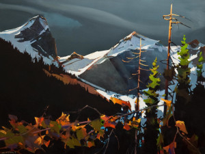 "SOLD ""Dark Mariah Over the Tantalus,"" by Michael O'Toole 30 x 40 – acrylic $4600 Unframed"