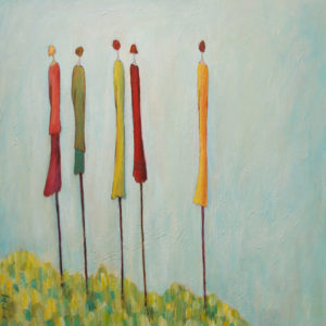 "SOLD ""A Day with the Girls,"" by Bev Binfet 24 x 24 – acrylic $870 Unframed"