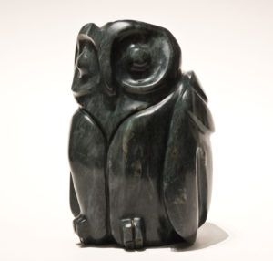 """SOLD """"Distant Sound – Owlet,"""" by Marilyn Armitage Soapstone – 8"""" (H) $770"""