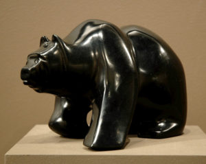 "SOLD ""Ebony Black Bear,"" by Marilyn Armitage Chlorite – 6""(H) x 10""(L) $700"