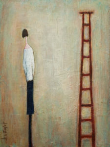 "SOLD ""Eyeing the Corporate Ladder,"" by Bev Binfet 9 x 12 – acrylic $370 Unframed"