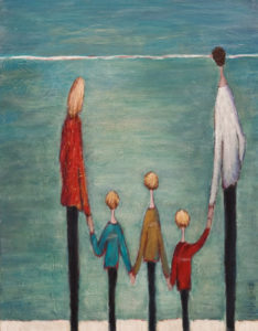 "SOLD ""Family Time,"" by Bev Binfet 14 x 18 – acrylic/mixed media $770 Unframed"