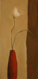 "SOLD ""First Blossom,"" by Bev Binfet 6 x 12 – acrylic $285 Unframed"
