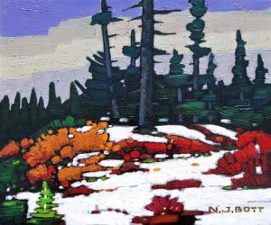 "SOLD ""First Snow, Mt. Seymour,"" by Nicholas Bott 10 x 12 – oil $1370 Framed"