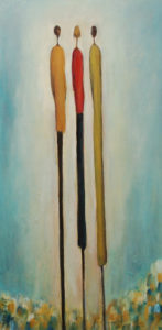 "SOLD ""Friends,"" by Bev Binfet 12 x 24 – acrylic $685 Unframed"