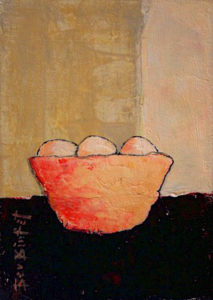 "SOLD ""Fruit Bowl,"" by Bev Binfet 5 x 7 – acrylic $225 Unframed"
