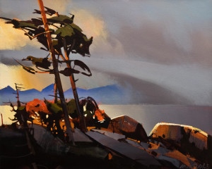 """SOLD """"Furry Creek Touching Howe Sound,"""" by Michael O'Toole 16 x 20 – acrylic $1475 Unframed"""